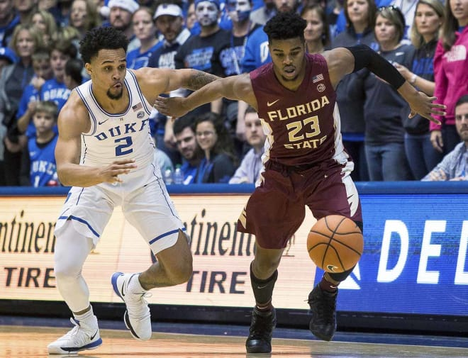 Florida State freshman M.J. Walker goes for a loose ball in the Seminoles' 100-93 loss at Duke.