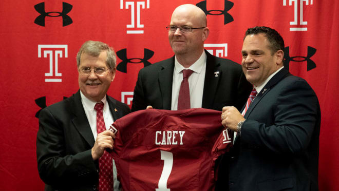 Temple head coach Rod Carey (center) at his introductory press conference.