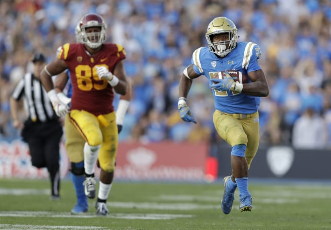 UCLA running back Joshua Kelley rumbled for 289 rushing yards and 2 TDs last season against USC.