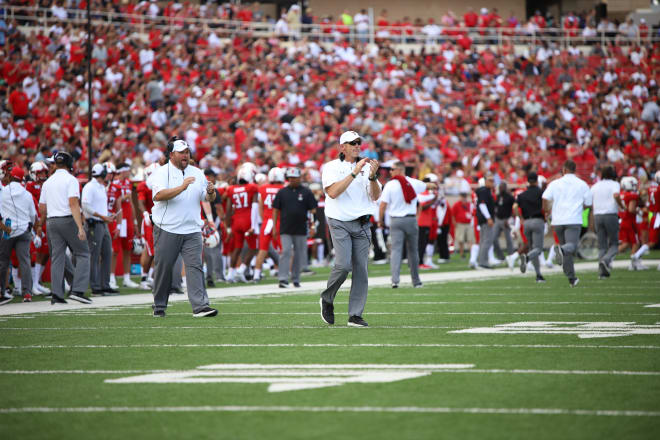 Texas Tech coach Matt Wells appreciates his team during Texas tech's 45-10 win over Montana State.