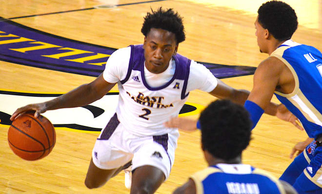 Tristen Newton and ECU suffered through a tough shooting night and fell hard at home to Tulsa 65-49. (PirateIllustrated.com photo)