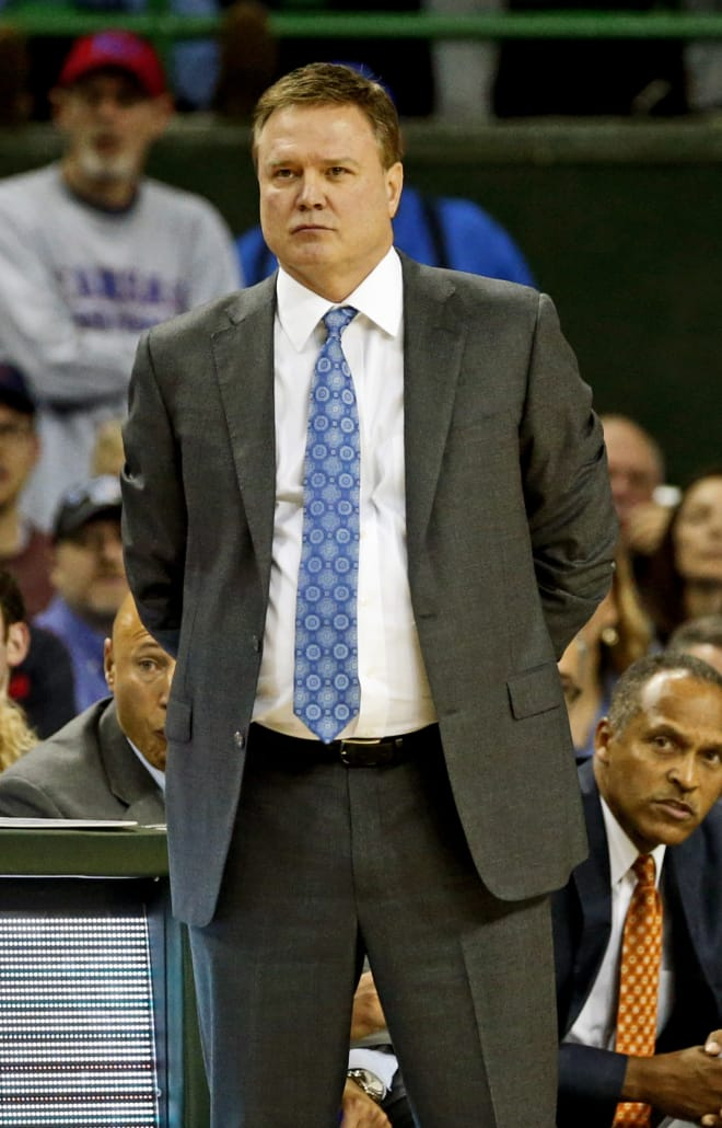 Bill Self looks on in the second half of KU's 66-60 victory over Baylor