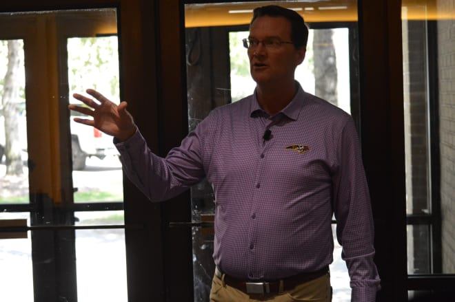 ECU athletic director Jon Gilbert took the press on a tour where he discussed the progress of Towne Bank Tower.