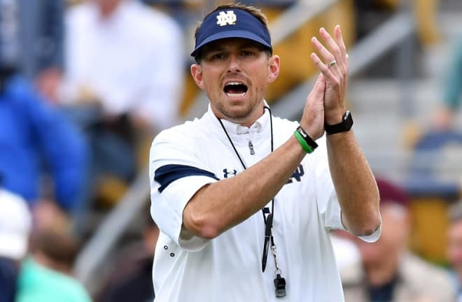 MIke Sanford Jr. was offensive coordinator and quarterbacks coach at Notre Dame from 2015-2016.