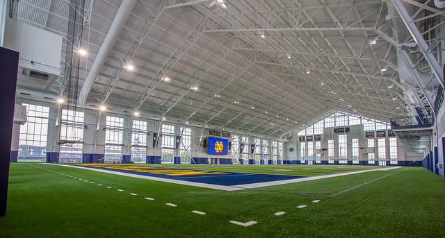 The Irish Athletics Center was completed in the last month to better accommodate the football program.