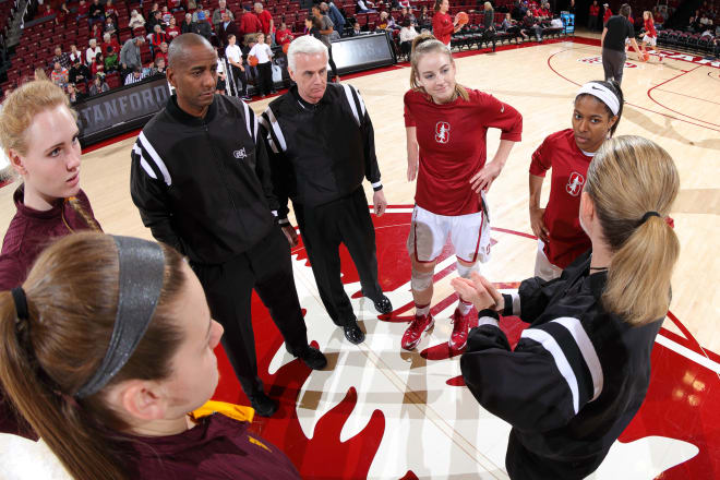 From left, former Stanford players Karlie Samuelson and Briana Roberson before a game against Arizona State.