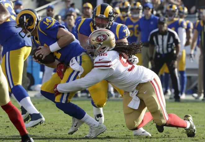 Former Notre Dame defensive tackle Sheldon Day making a tackle for the San Francisco 49ers