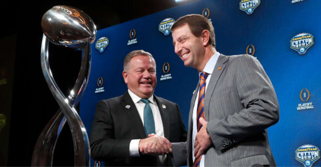 Brian Kelly joins Clemson's Dabo Swinney and 14 other FBS coaches who are currently at least in their 10th year at the same school.