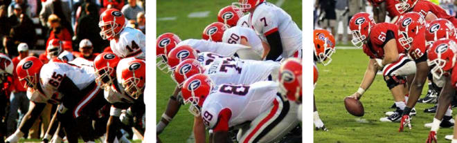 Georgia's (L to R) 1997, 2007, and 2012 offensive lines returned only 37, 25, and 31 career starts, respectively, yet the teams finished with records of 10-2, 11-2, and 12-2.