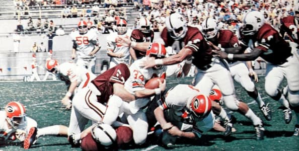 Not since 1970 (pictured vs. Miss. State when Georgia allowed only 173 yards but lost) have the Bulldogs been defeated more than once in a season when yielding 250 yards or less--that is, until Georgia's last two games in a row vs. Vanderbilt and Florida.
