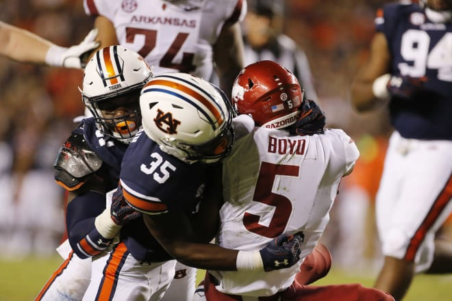 Auburn beat Arkansas 34-3 at Jordan-Hare Stadium last season.