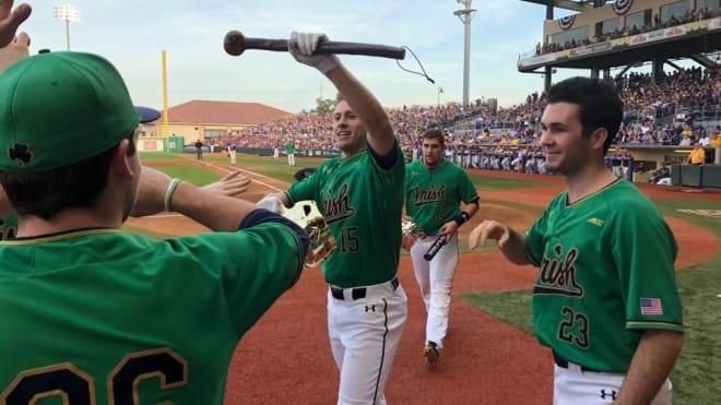 Notre Dame baseball players celebrating