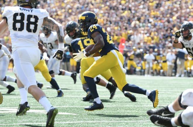 Saturday's interception was the fourth of Michigan Wolverines football senior cornerback Lavert Hill's career.