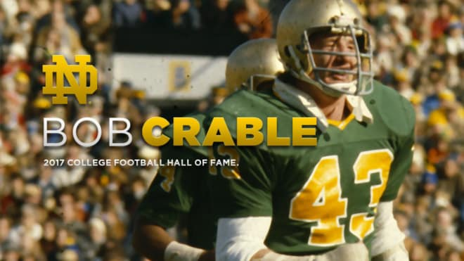 Crable is one of 16 two-time consensus All-Americans in Notre Dame's football annals.