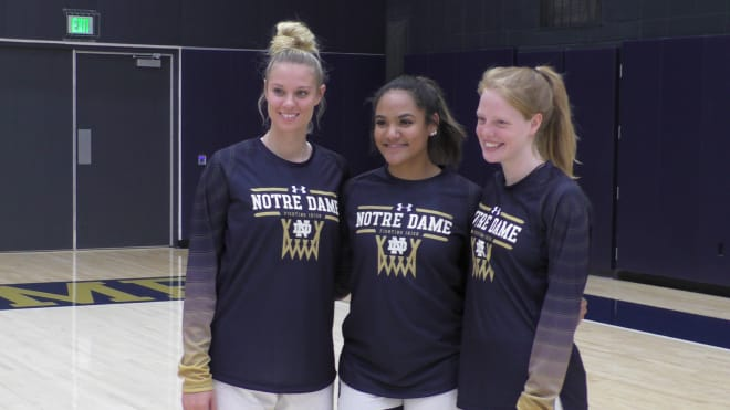 Freshmen Sam Brunelle (left) and Anaya Peoples (center) are expected to make immediate impact, while walk-on classmate  Kathleen Keyes (right) also joins the team.