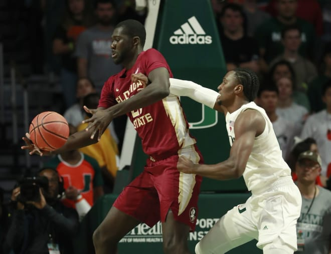 Christ Koumadje scored all eight of his points in the first half to help lead the Seminoles to the win on Sunday.