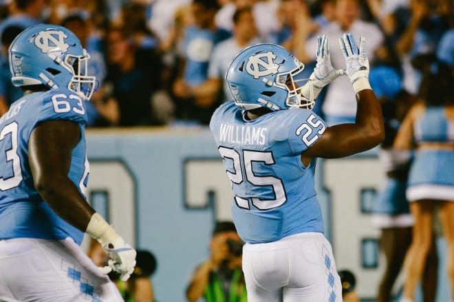 Javonte Williams (25) and the Tar Heels running the ball well is one of the 5 Keys in their beatign Wake on Friday night.