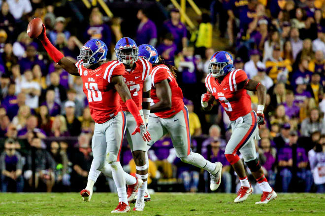 Ole Miss' Marquis Haynes celebrates a fumble recovery during the Tigers' loss at LSU last October. Haynes and the Rebels will entertain the Tigers Saturday at 6:15 p.m. at Vaught-Hemingway Stadium.