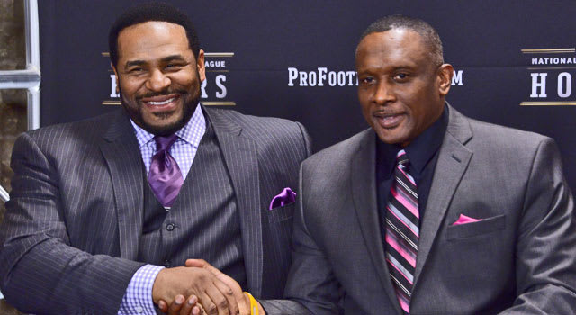 Jerome Bettis (left) and Tim Brown (right) were both enshrined into the Pro Football Hall of Fame in 2015.