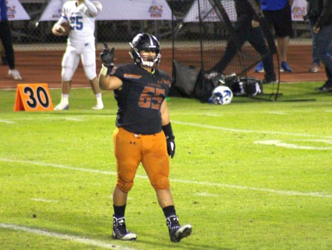 Desert Edge offensive tackle Max Garcia on the field during the 4A Conference championship last week.  The Scorpions have been moved up to 5A and will likely be in a region containing Desert West teams like Millennium and Verrado.