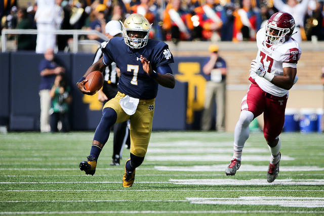 Wimbush rushed for 106 yards and passed for 184 against Temple in the 49-16 Irish win.
