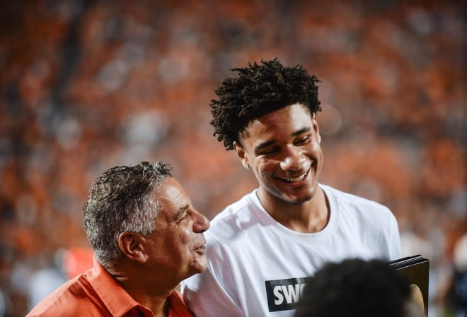 Okeke and Bruce Pearl are recognized at an Auburn football home game, along with the rest of Auburn's 2019 Final Four team.