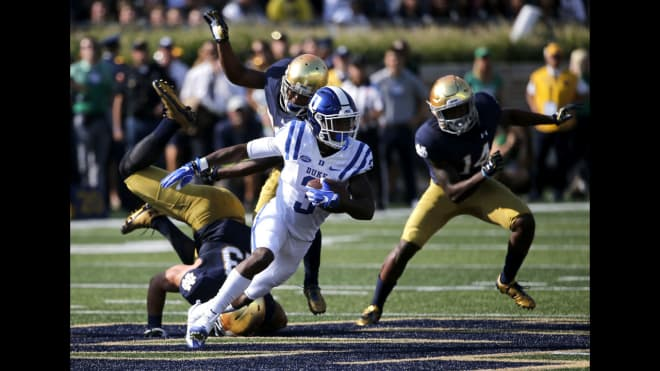 Duke won 38-35 at Notre Dame in 2016, the most recent meeting between the two schools in football.