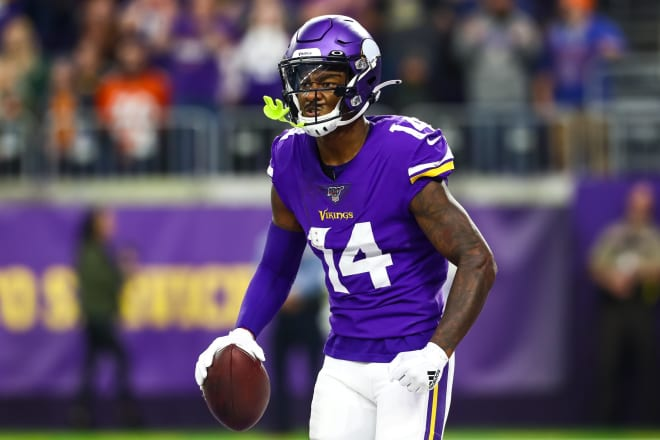 Stefon Diggs (No. 14) had five receptions for 121 yards and a touchdown in the Vikings' comeback win over Denver.