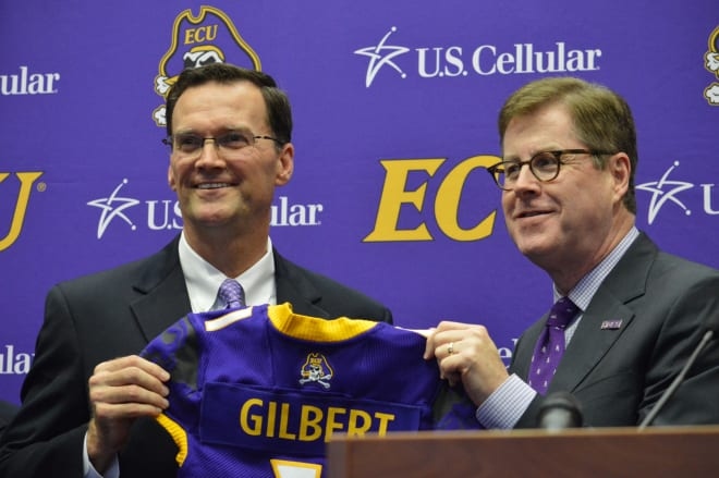 New ECU Director of Athletics Jon Gilbert is formally introduced by ECU Chancellor Cecil Staton on Monday.