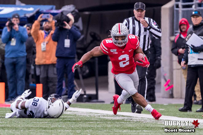 J.K. Dobbins finished with 157 yards on 36 carries.