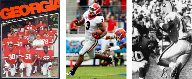 """""""100"""" is for (L to R) the one-time cost of a program at Sanford Stadium; Todd Gurley on a few occasions; and what few UGA quarterbacks have been able to accomplish the last 40 years--the last being Quincy Carter at  Kentucky in '98."""
