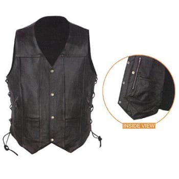 7832d51d638 Shaf - XXX -Large Men s Leather 10 -Pocket Vest Black - SH1391
