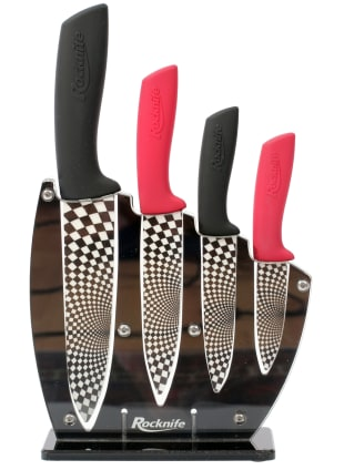 Red and Black Ceramic Kitchen Knife Set