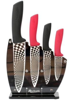 Red and Black Ceramic Kitchen Knife Set