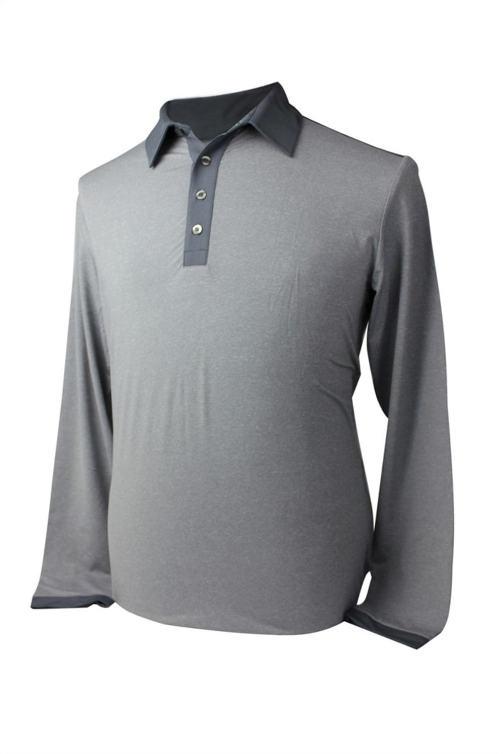 bcaa5355 Adidas Mens AdiPure Heather Long Sleeve Polo