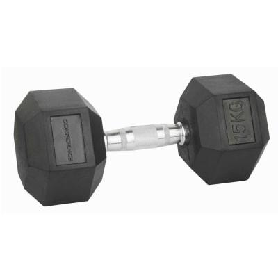Confidence Fitness 15kg Rubber Hex Dumbbell