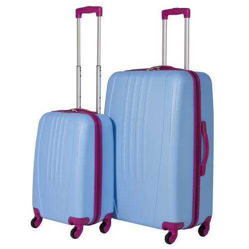 Swiss Case 4 Wheel Bold 2Pc Suitcase Set - Blue / Pink