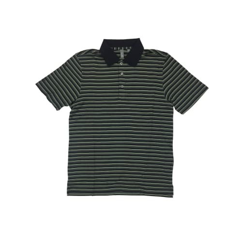 Ashworth Golf Mens Black / Green Stripe Polo Shirt - Black Medium