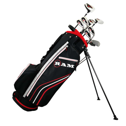 Ram Golf Accubar 13pc Golf Clubs Set - Graphite Shafted Woods, Steel Shafted Irons - Mens Left Hand