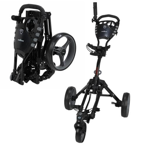 Caddymatic Golf 360° SwivelEase 3 Wheel Folding Golf Trolley Black