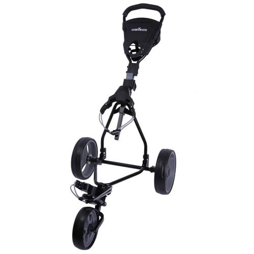 Caddymatic Junior Golf Trolley - 3 Wheel Folding Trolley for Kids- Black/Grey