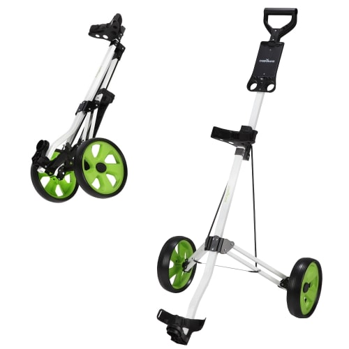 Caddymatic Golf Lite Trac 2 Wheel Folding Golf Trolley White/Green