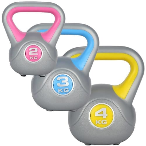 Confidence Fitness Pro Vinyl Kettle Bell Weight Set - 3 Kettlebells 2kg 3kg 4kg