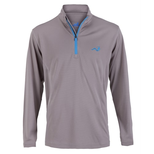 Woodworm 1/4 Zip Golf Pullover - Grey / Sky Blue