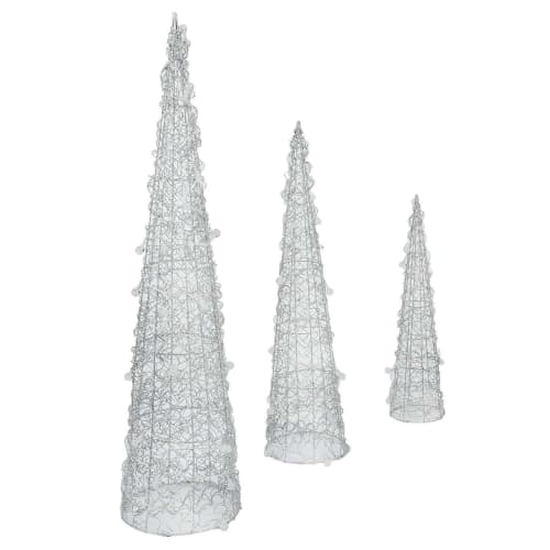 Homegear Christmas Silver Cone Tree 3 Pack - Pre-Lit with 75 LED Lights - Indoor or Outdoor Use