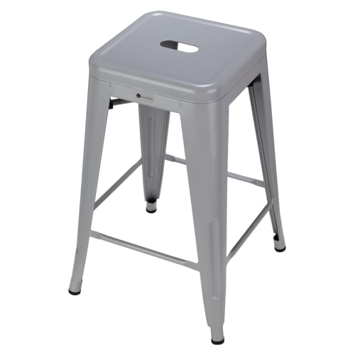 OPEN BOX Homegear 4 Pack Stackable Metal Kitchen Stools - Silver