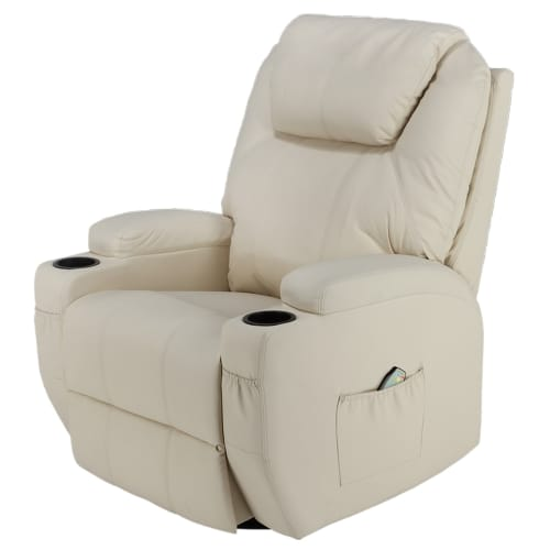 Homegear Recliner Chair with 8 Point Electric Massage and Heat - Cream