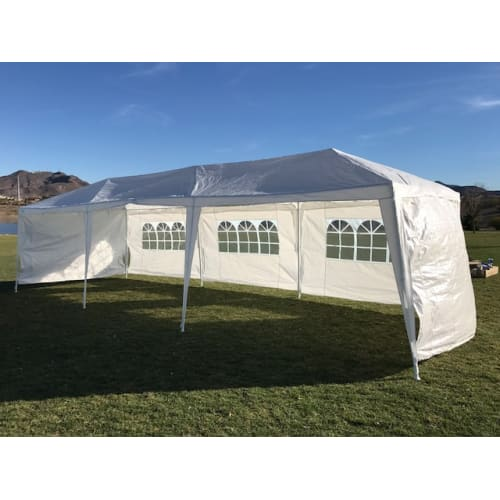 Palm Springs 10' x 30' White Party Tent with 5 Sidewalls