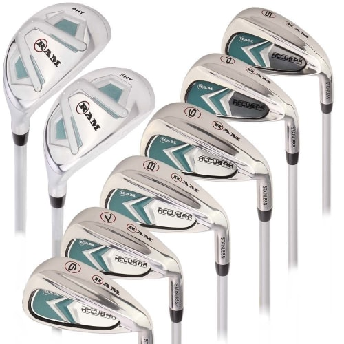 Ram Golf Accubar Lady Clubs Petite Iron Set 6-7-8-9-PW-SW with Hybrids 24° and 27°