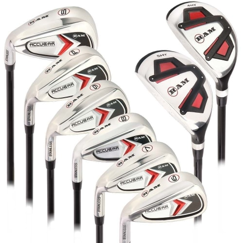 Ram Golf Accubar Mens Clubs All Graphite Iron Set 6-7-8-9-PW-SW with Hybrids 24° and 27° - Lefty